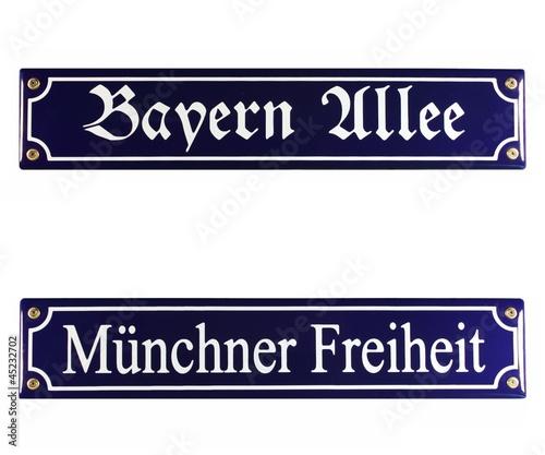 Fotobehang Retro Strassenschild Bayern Allee Münchner Freiheit