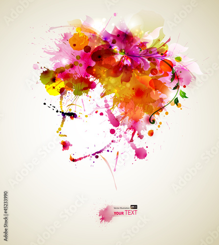 Foto op Canvas Bloemen vrouw Beautiful fashion women with abstract hair and design elements