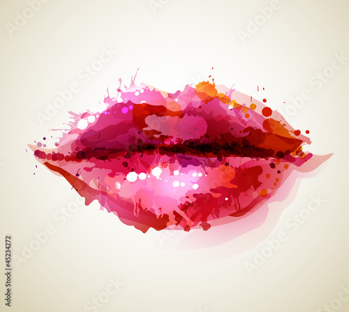 Beautiful womans lips formed by abstract blots - 45234272