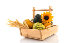 Wooden Basket Ornamental Gourds And Grain