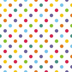 FototapetaSeamless vector pattern or background with colorful polka dots