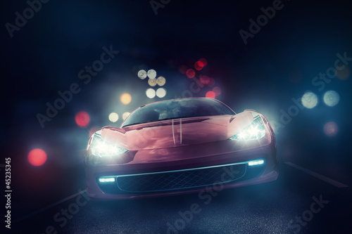 Poster Voitures rapides Car in the Fog