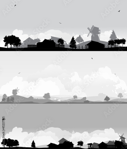 Aluminium Prints Dark grey set of three country landscapes