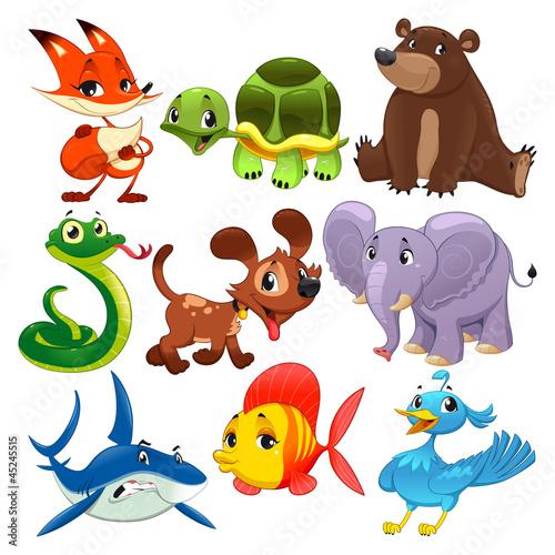 zestaw-zwierzat-postaci-z-kreskowek-i-wektor-na-bialym-tle