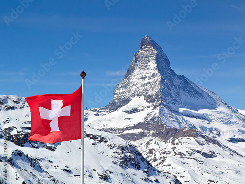 Photo  Matterhorn with flag of switzerland