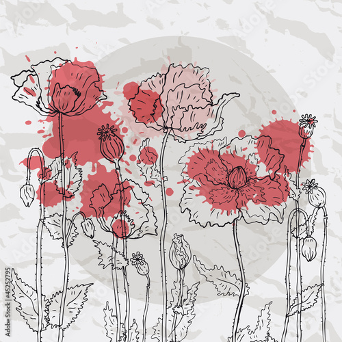 Tuinposter Abstract bloemen Red poppies on a crumpled paper background