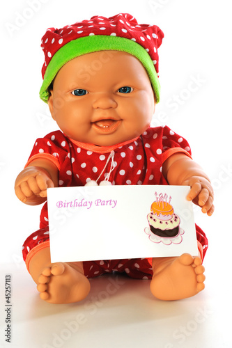 Baby Doll With Birthday Invitation Card Isolated White Bacground