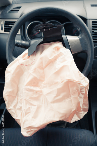 Airbag explodes on steering wheel Canvas Print