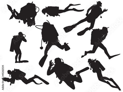 vector scuba diving silhouette Wall mural