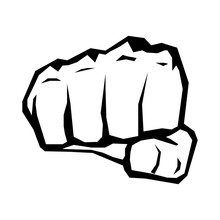 Freedom Concept. Vector Black And White Fist Silhouette.