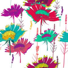 Panel Szklany Kwiaty seamless vector texture