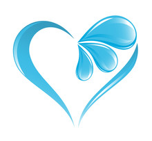 Abstract Water Icon With Heart...