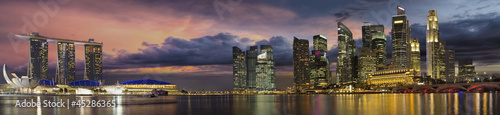 Poster Singapore Singapore City Skyline at Sunset Panorama