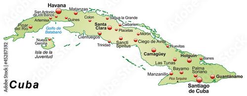 Inselkarte von Kuba als Übersicht Canvas Print