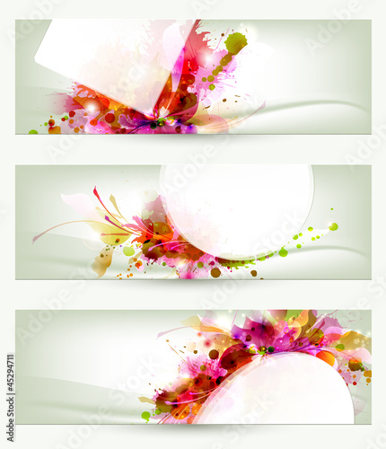 Foto op Canvas Bloemen vrouw Set of three headers. Abstract artistic Backgrounds