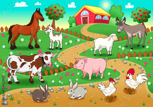 Photo sur Toile Ferme Farm animals with background. Vector illustration
