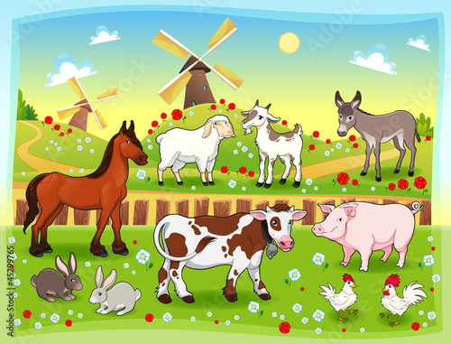 Poster Ranch Farm animals with background. Vector illustration.