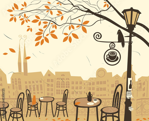 Foto op Canvas Drawn Street cafe autumn landscape with a street cafe