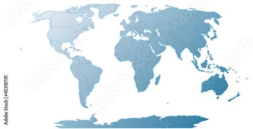 Fotobehang Noord Europa Freigestellte Weltkarte