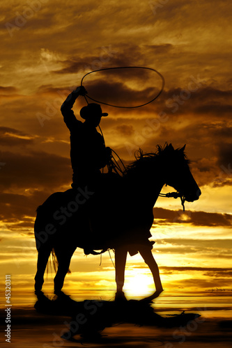 Cowboy swinging rope on horse in water