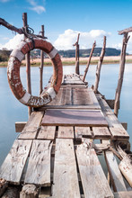 Gangway Over The Water And A Lifebuoy