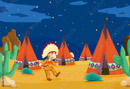 Stickers pour portes Indiens tent house and kid