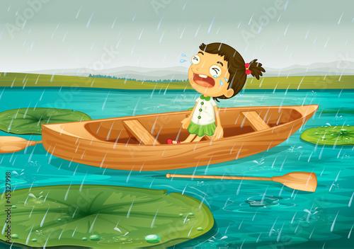 Canvas Prints River, lake girl and boat