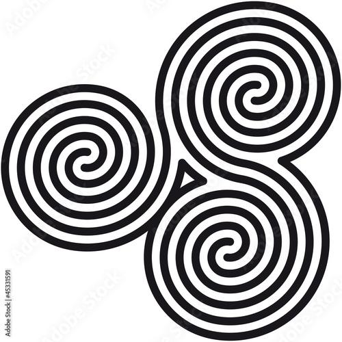 Spoed Fotobehang Spiraal Celtic double spirals labyrinth (Labyrinth keltische Spiralen)