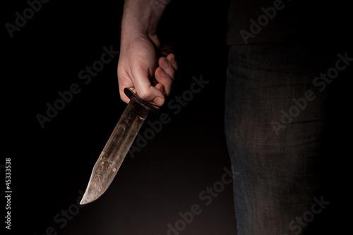 Fotografie, Obraz  Mann mit großem Messer - Verbrecher