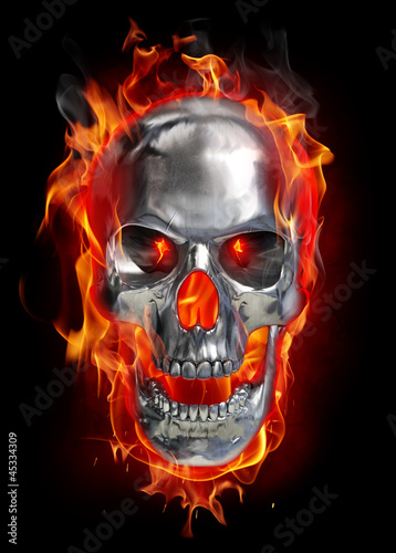 Poster Flamme Metallic skull on fire