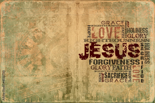 Religious Words on Grunge Background #45337110