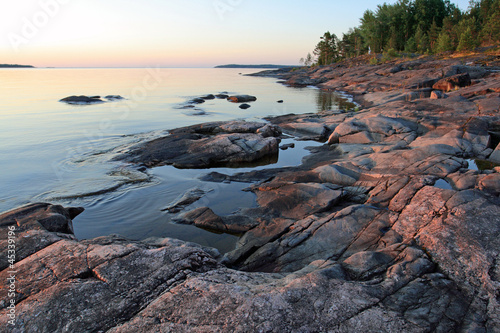 Ladoga shore at sunrise Tablou Canvas