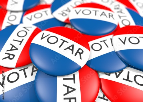 Fotografering  bunch of voter button in Spanish