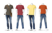 Four Male Mannequin Dressed In Jeans With Colorful T-shirt