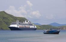 Cruise Ship & Fishing Boat In Komodo Island Bay, Indonesia