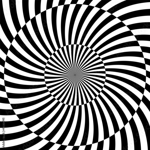 Poster Psychedelic Black and white hypnotic background. vector illustration