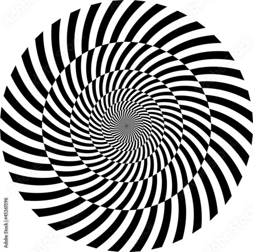 Fotoposter Psychedelic Black and white hypnotic background. vector illustration