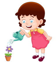 Illustration Of A Cute Little Girl Watering Flower Vector