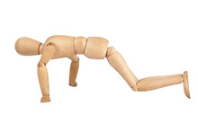 Wooden Dummy Doing Push Ups