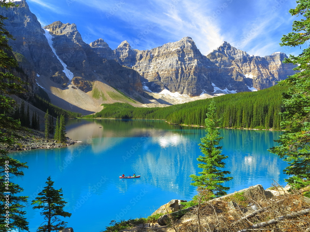 Fototapeta Vivid hues of Lake Moraine at Banff National Park, Canada