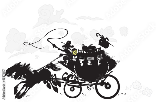 Fotografie, Tablou  Western Stagecoach. Silhouette drawing.