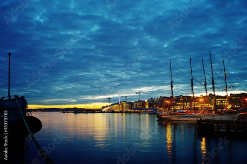 Oslo harbour in twilight Poster