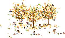 栗がたくさん実る森の中、いろいろな人たちが楽しそうに栗を拾う。