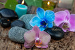 spa concept with colored orchids
