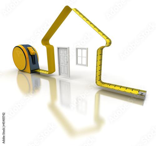 Fotografie, Obraz  Projet de Construction, mètre ruban