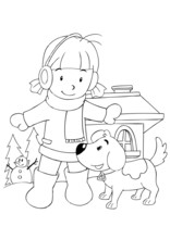 Outline Illustration Of A Girl Playing With Dog