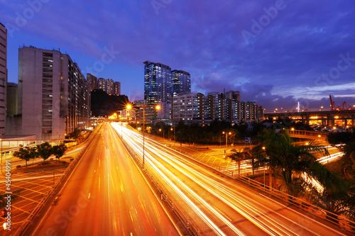 Spoed Foto op Canvas Canada traffic in Hong Kong at night
