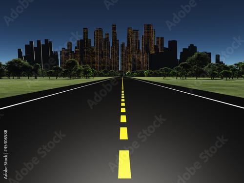 Fototapeta Road to city night obraz na płótnie