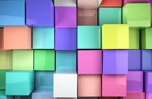 Fondo Abstracto De Cubos De Co...