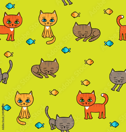 Wall Murals Cats Pattern with little kittens